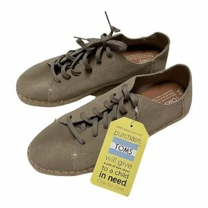 New TOMS Lena size 8 desert suede taupe espadrilles